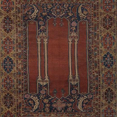 Tappeto Kula doppia nicchia, Anatolia XVIII secolo. Lombardo & Partners (Antiques), Rivoli.