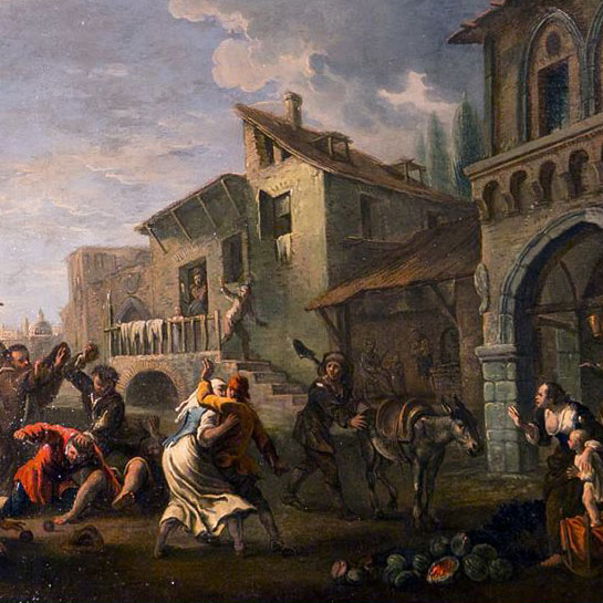 """Pietro Domenico Ollivero (Torino 1679 - 1755), """"Rissa in centro a Torino durante una partita di bocce"""", Olio su tela, cm.61,5x83. Matta Antichità, Verolengo, Torino."""