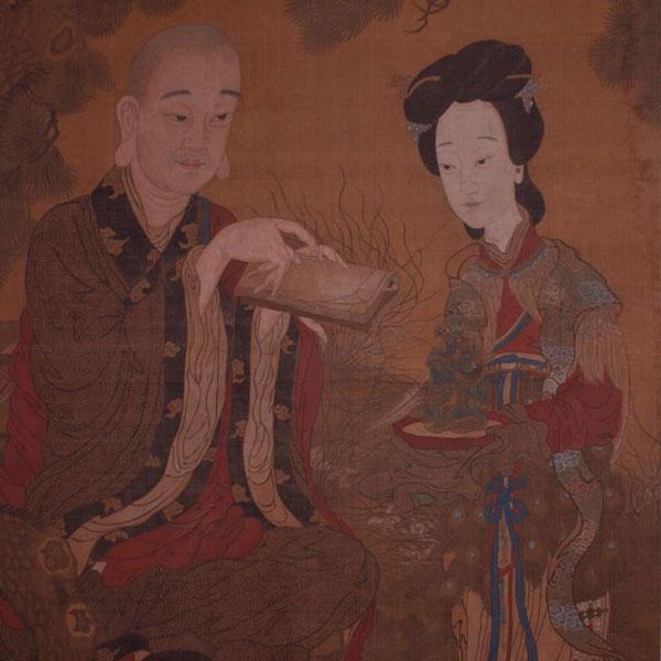 Scena di corte, tecnica mista su seta, Cina, dinastia Qing, sec. XVIII, cm 100x182. Ajassa, Torino.