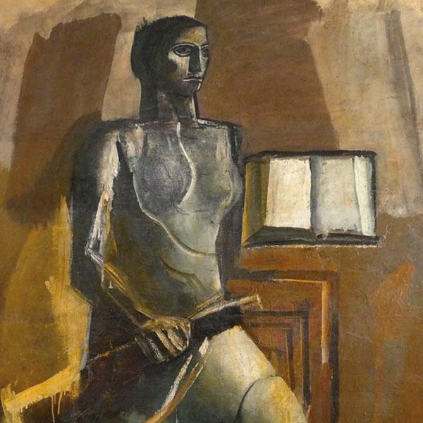 Figura femminile con libro e moschetto, Mario Sironi, sd 1936-38, tempera su carta da spolvero applicata su tela, cm 262x182.  Galleria d'Arte Cinquantasei, Bologna.
