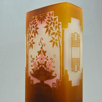 Gallè, vaso in vetro a triplo strato, circa 1925, h 38 cm. Con base firmata Lavigne h 44 cm. ART DECORATIF DI ROBERTO CENTRELLA - FIUMICINO - ROMA
