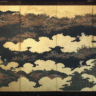 Paravento giapponese a sei ante, periodo Edo, inizi sec. XIX, cm 347x152. LUCIO MORINI - BRESCIA